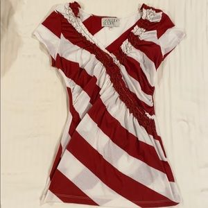 Urban Outfitters ruched v neck stripe tee medium